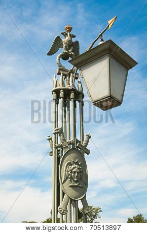 Old Lamp Troitsky Bridge Peter And Paul Fortress, St. Petersburg, Russia