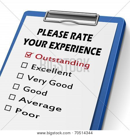 Please Rate Your Experience Clipboard