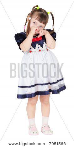 Shy Little Girl In A Beautiful Dress