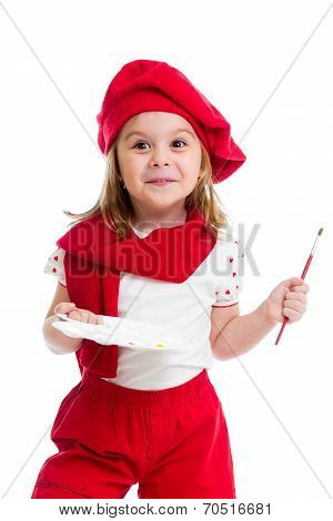 Little Girl In Artist Costume Isolated