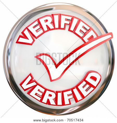 Verified word and check mark on a round shiny button as certification or approval