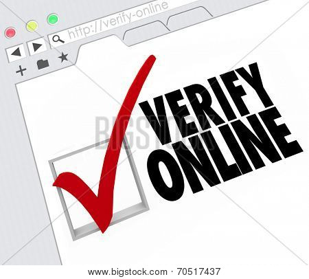 Verify Online words and check mark and box on an Internet website or online resource