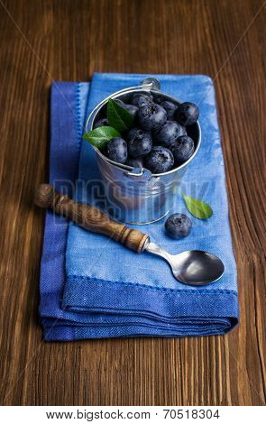 Blueberries In Small Bucket