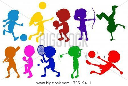 Illustration of the coloured sketches of kids playing with the different sports on a white background