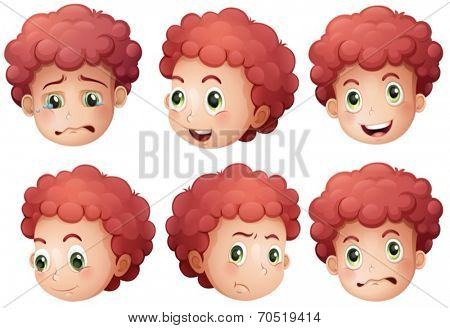Illustration of different expressions of a boy