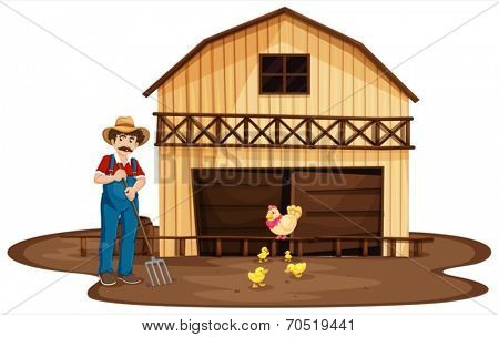 Illustration of a man standing in front of the wooden barnhouse on a white background