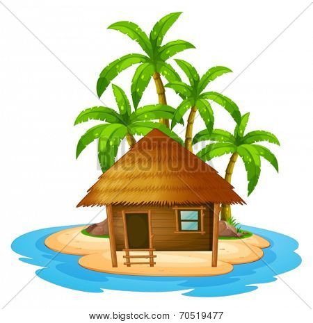 Illustration of a small house in the island on a white background