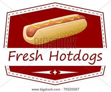 Illustration of a fresh hotdog label on a white background