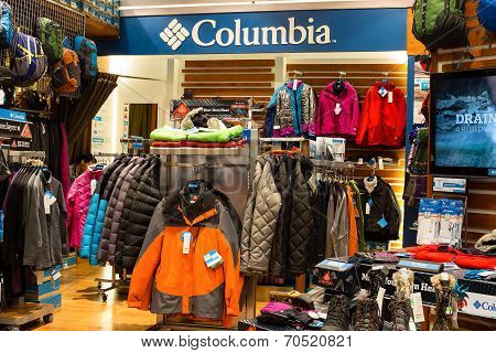 Columbia Clothing Section In A Supermarket Siam Paragon In Bangkok, Thailand.