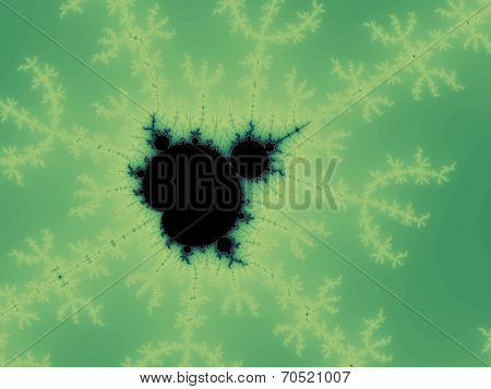 Decorative fractal background in a green colors