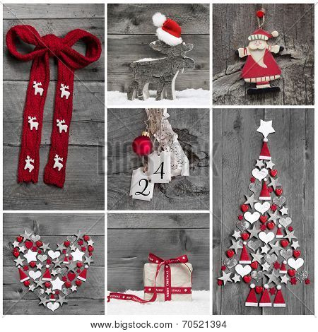 Collage Of Different Red, White And Grey Christmas Decoration On Wood.