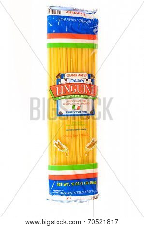 Hayward, CA - July 24, 2014: 16 oz packet of Trader Joe's Italian Linguine imported from Italy