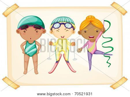Illustration of a frame with three sporty kids on a white background