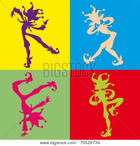 Funny Joker silhouettes. Vector cartoon illustration