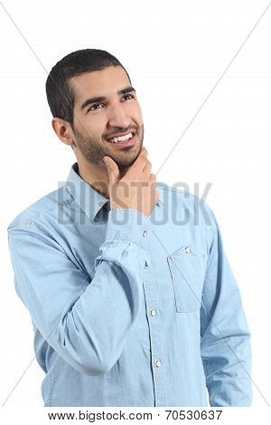 Arab Man Thinking Ideas And Looking At Side