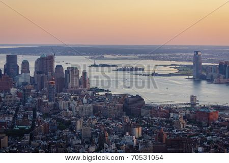 Sunset Over New York, Ellis Island And Liberty Island - Aerial View