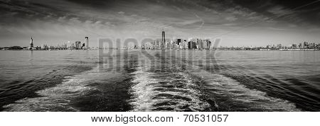 Black & White Panoramic View New York Skyline As Seen From Staten Island Ferry.