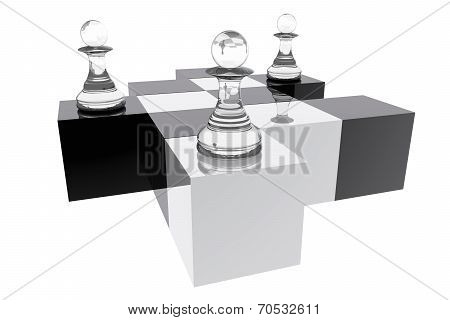 Pawns In Abstract Chess Board