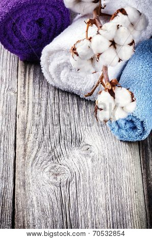 Branch Of Ripe Cotton Bolls On Multicolor Bath Towels
