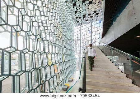 REYKJAVIK, ICELAND - AUGUST 31, 2013: Interior of Harpa concert hall in Reykjavik, Iceland. Harpa was opened on May 13, 2011, was selected as Best Performance Venue 2011 by Travel & Leisure magazine