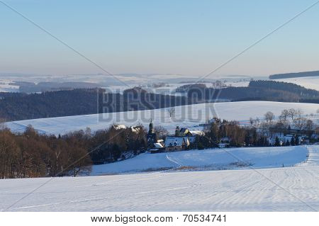 Village in the Erzgebirge in the winter