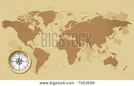 alten Weltkarte und Kompass
