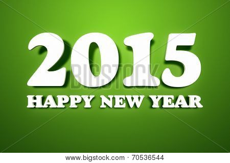 An image of the text 2015 Happy New Year on a green wall