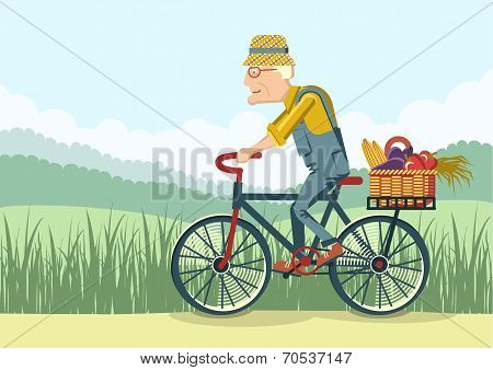 Old Man Drive By Bike.vector Gardener
