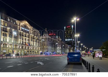 Polonia Hotel In Warsaw During The Night