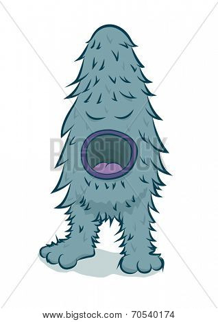 Furry blue monster with big mouth