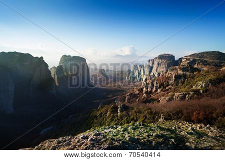 The view of Meteora valley, Greece
