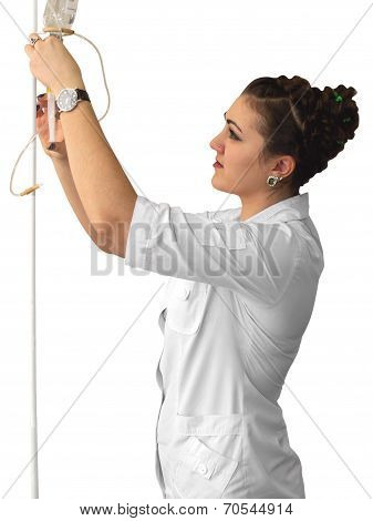 Nurse With A Dropper And Basin