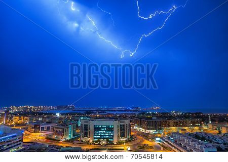 DUBAI, UAE - 3 APRIL 2014: Thunderstorm in Dubai Internet City, UAE. Dubai Internet City is created by the government free economic zone for global information technology firms.