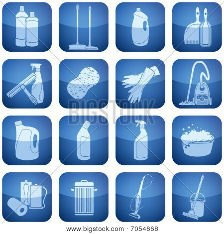 Cobalt Square 2D Icons Set: Cleaning