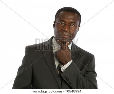 Serious Looking Mid Age African American Male Model on Isolated Background