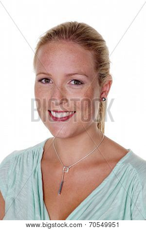 the portrait of a young woman. isolated against white background