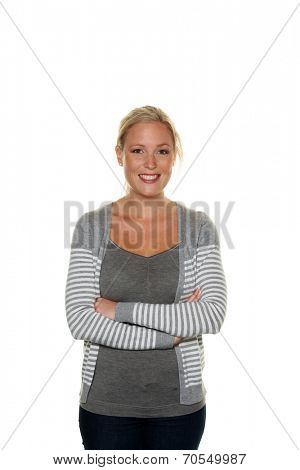 young friendly woman standing against white background. half figure. icon image for today's youth