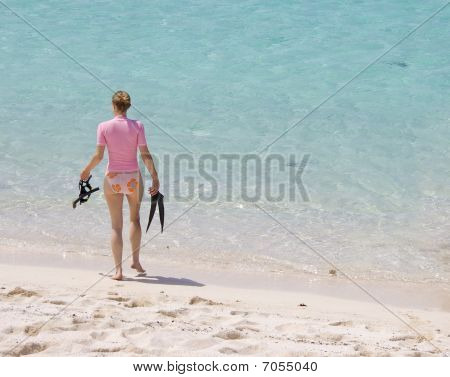 Woman Going Snorkeling