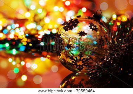 Colorful Silhouette Of Christmas Ball On New Year's Bokeh Background