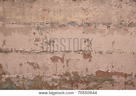 Texture Of Old Wall Of Horizontal Blocks, Coated Pink Stucco