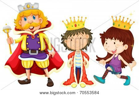 Illustration of a king, a prince, and a princess