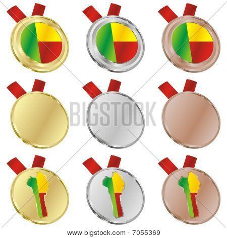 benin vector flag in medal shapes