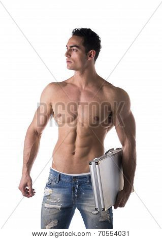 Shirtless Muscular Young Businessman Carrying A Briefcase Under His Arm