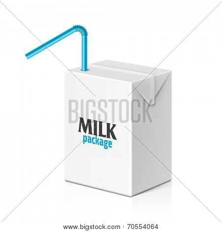 Milk or juice box with drinking straw template. Vector.