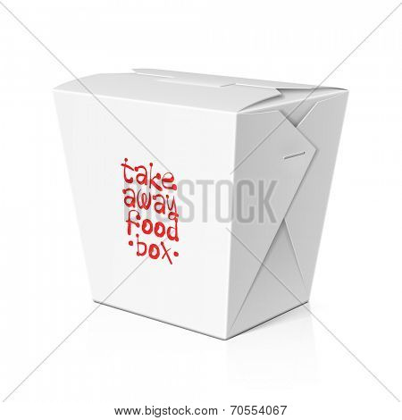 Take away food, noodle box template. Vector.