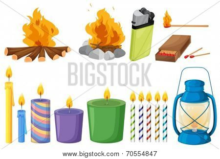 Illustration of the set of things that causes fires on a white background