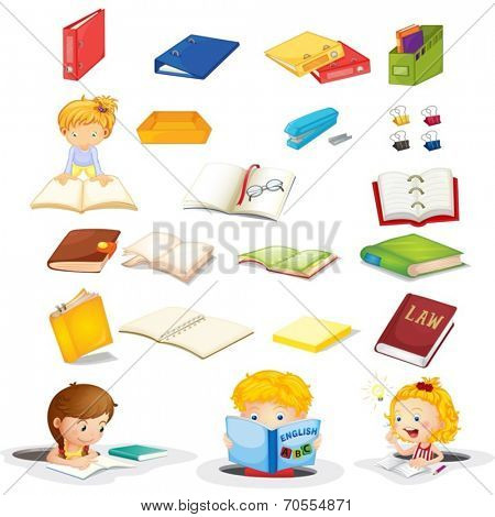 Illustration of the students and their school supplies on a white background