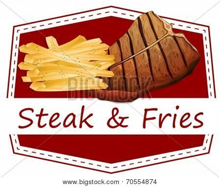 Illustration of the steak and fries label on a white background