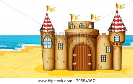 Illustration of a castle on the beach