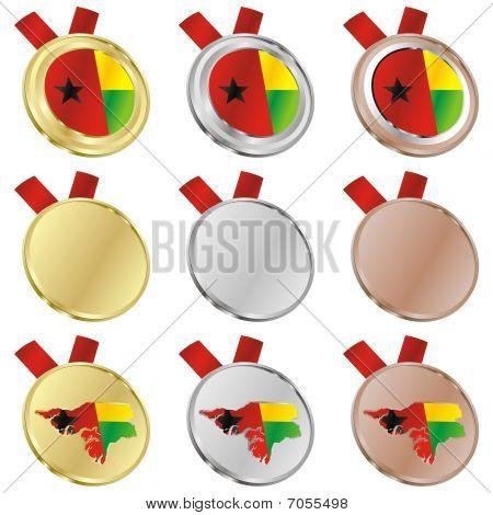 guinea bissau vector flag in medal shapes